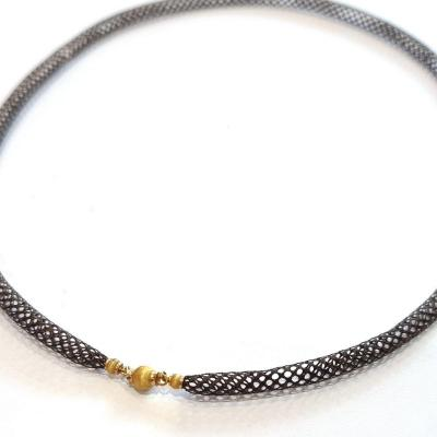 19th Braided Hair Necklace, Sentiment Jewel, 18k Gold Clasp
