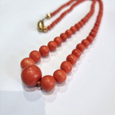 Antique Coral Beads Necklace, 18k Gold Clasp