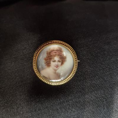 Broche Portrait Miniature Femme Belle Epoque, Vers 1900, Sous Verre