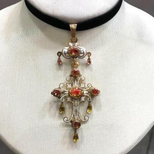 Croix d'Aurillac - Puy en Velay, or et émail, citrines, bijoux régional français, France 19ème