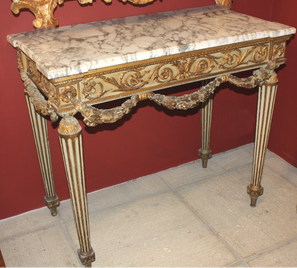Console Louis XVI In Golden Wood And -lacquered