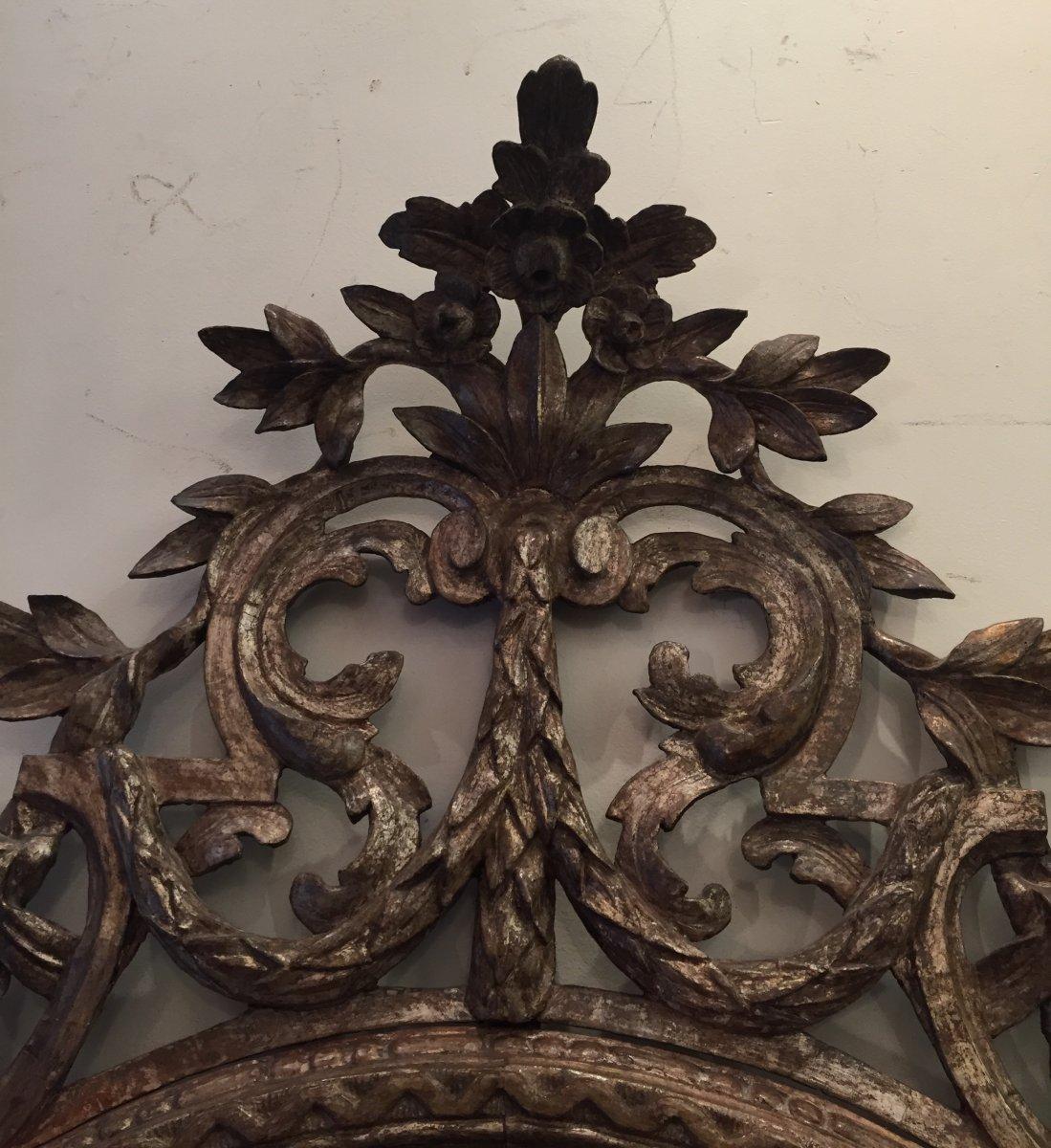 Important Miroir En Bois Sculpté- Italie XVIIIème.