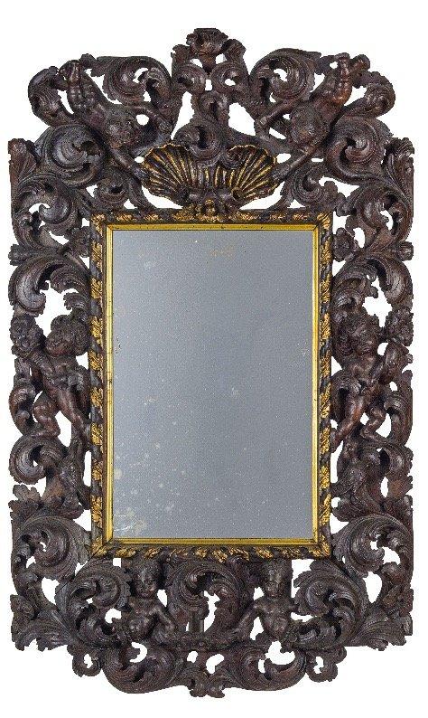 Important Miroir De Boiserie Baroque Aux Putto - Italie XVIIIème