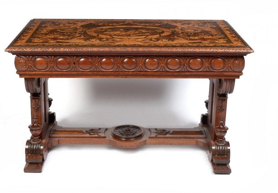 Table De Milieu En Palissandre Et Marqueterie - Circa 1850