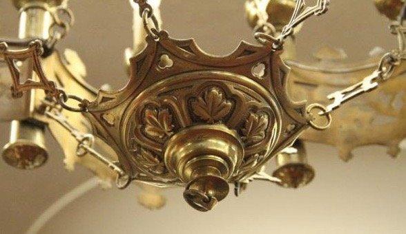 Importante Lustre En Bronze Ciselé Et Doré Néogothique -19eme