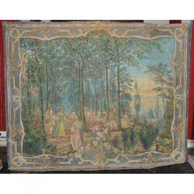 Important Canvas Woodwork Nineteenth Century