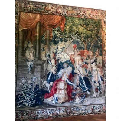 Brussels Tapestry With Polychrome Decor - Late 17th