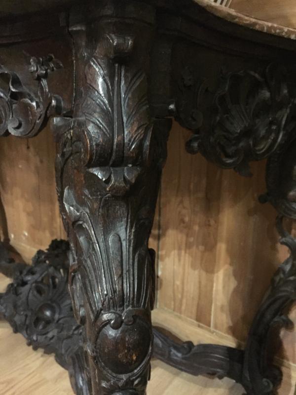 Table à Gibier En Chêne Mouluré Et Sculpté - XVIIIème-photo-4