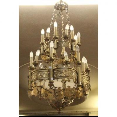 Important Chandelier In Chiselled And Gilded Neogothic Bronze - 19th