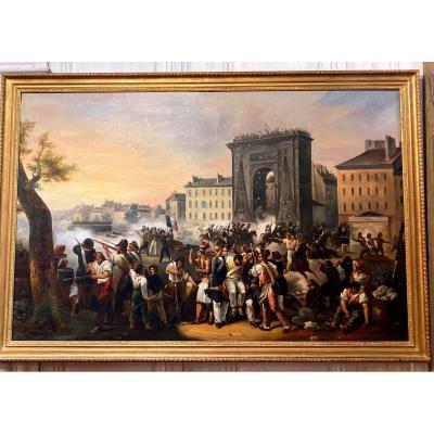 Hippolyte Lecomte Et Atelier - Le Combat De La Porte Saint Denis, Le 28 Juillet 1830