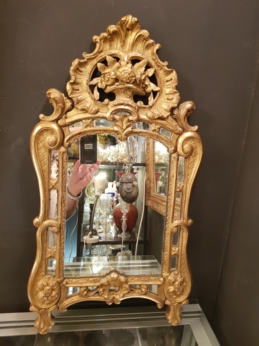 Miroir Parclose bois doré Style Louis XV