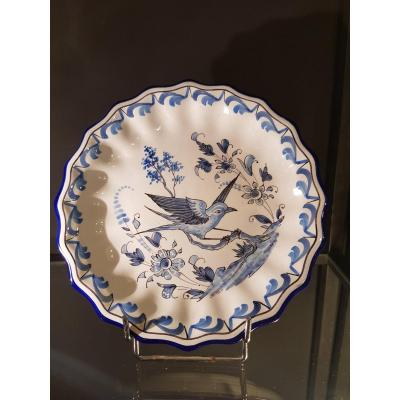 Nevers Faience Dish By  Montagnon France Blue Bird