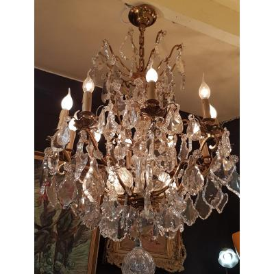 Large Chandelier With Crystal Tassels Louis XV Style