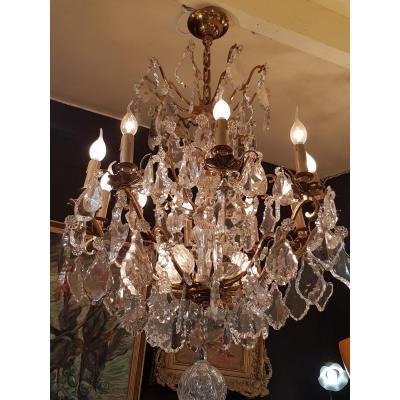 Grand Lustre à Pampilles De Cristal Style Louis XV
