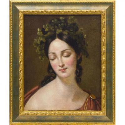Portrait Of Young Woman, Oil On Canvas, 19th Century, France