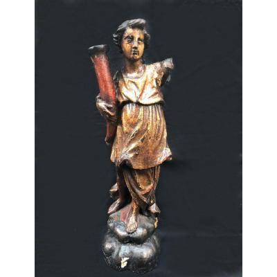 Polychrome Wooden Angel