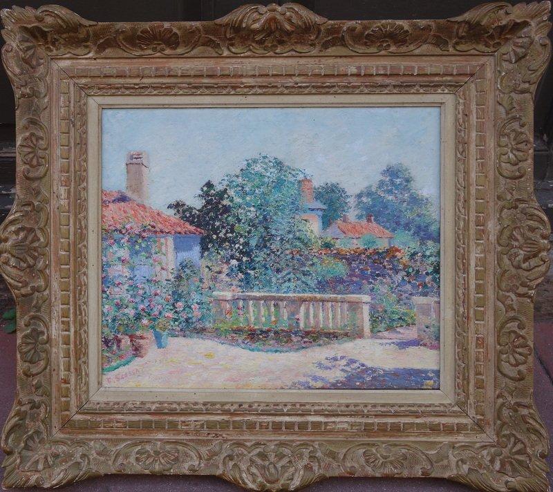 """Rosiers sur la Terrasse"" par Ferdinand SCOSSA vers 1920"