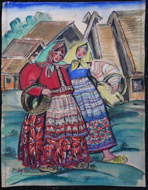 """""""Deux Amies Russes"""" Olga KLEIN ASTRACHAN vers 1940/45"""