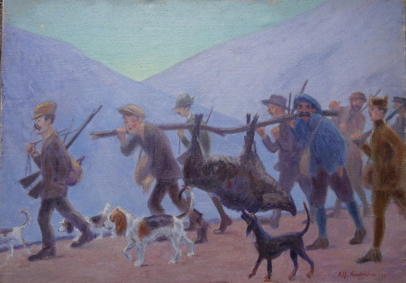 """""""Retour de Battue en Provence"""" par Alfred ANDRIEUX ...1922"""