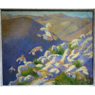 """""""Perdrix Rouges en Montagne"""" par Alfred ANDRIEUX ..1924"""