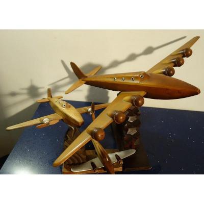 """""""Trois Avions Bois """"Collection vers 1950"""