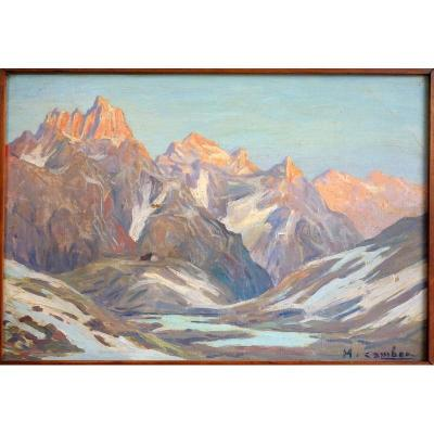 """""""the Refuge"""" Alps Or Pyrenees By M.cambon Around 1930"""