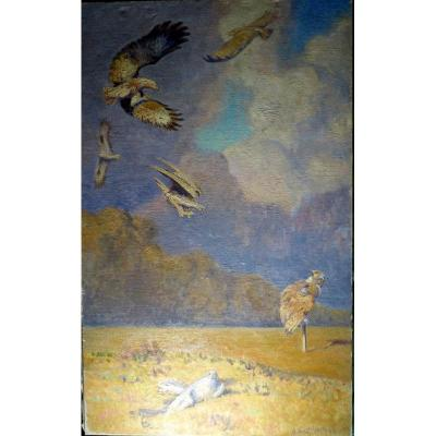 Large Oil on canvas 130/81 cm ........ Very good condition ......... Signed lower right and dated .......... New chassis .. .... Without frame ...... Comes from the studio collection in my possession Alfred ANDRIEUX (1879-1945) Painter, Draftsman, Animal watercolorist