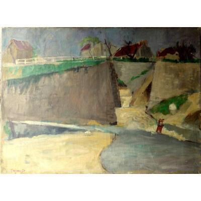"""Paysage"" par Arturo TEJERO...Tableau Salon de 1950"