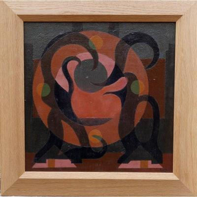 Oil on canvas, doubled on panel, in perfect condition ......... 47/47 cm ....... Signed and dated lower right ........ Modern frame in oak 63/63 cm Claude CUNDA born in 1915 ........... Abstract Painter .... Exhibited from 1952 to 1955 at the Salon des Réalités Nouvelles, small abstract compositions