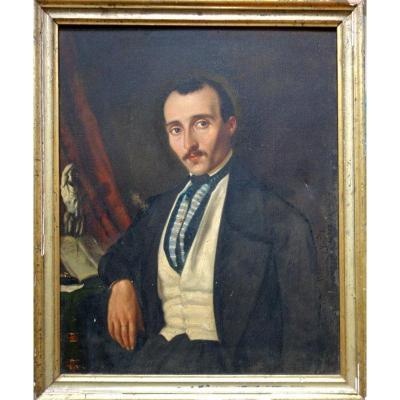 """""""Portrait d'Homme avec l'Ecorché de Houdon"""" vers 1850"""