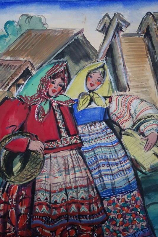 """""""Deux Amies Russes"""" Olga KLEIN ASTRACHAN vers 1940/45-photo-2"""