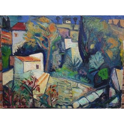 """Village Cubisant"" par Raymond BESSY vers 1950"