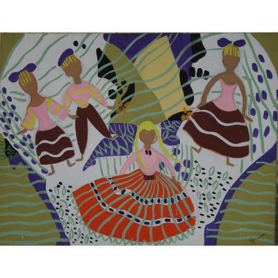 """""""children's Dance"""" By Pierre Grisot Around 1950"""