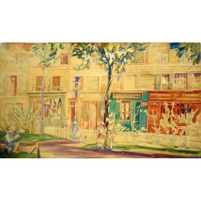 """""""Scéne de Rue"""" par Alexandre BOREGIANOFF ,Paris vers 1930"""