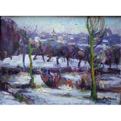 """""""Neige en Normandie"""" par Aline LE MOUTON vers 1920"""