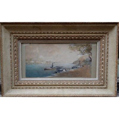 Aqaurelle in perfect condition of 15/30 cm .................. Signed, Located and dated lower right .......... Carved wooden frame and patina of 32/50 cm Gyula HARY (1864-1946) Hungarian Painter and Watercolourist of Landscapes, Genre Scenes ..... Active in Bosnia, Italy, Hungary ......