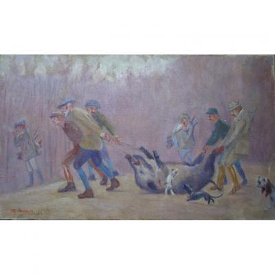 Oil on canvas in perfect condition ...... 33/55 cm ....... Signed and Dated lower left ....... Signed and titled on the back .... New chassis .. ... Without Frame Alfred ANDRIEUX (1879-1945) Painter, Draftsman, Animal Watercolourist ...... Half-brother of Louis Aragon