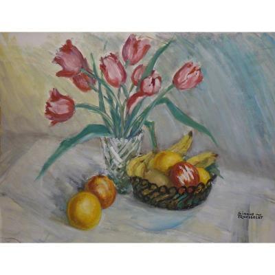 """""""Nature Morte aux Tulipes"""" par Simone ROUSSELET vers 1950"""