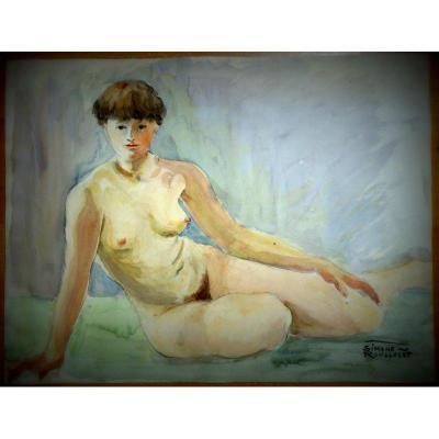 """""""Femme Nue"""" Aquarelle de Simone ROUSSELET vers 1960"""