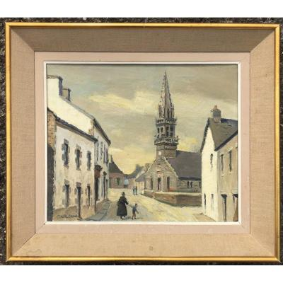 """""""TOURCH l'Eglise"""" par Charles VIAUD , Bretagne vers 1960"""