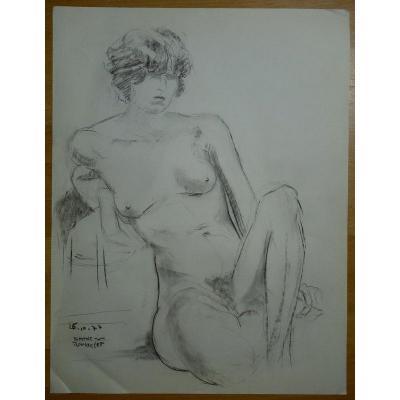 """""""Nue et Assise """"par Simone ROUSSELET ..1977"""