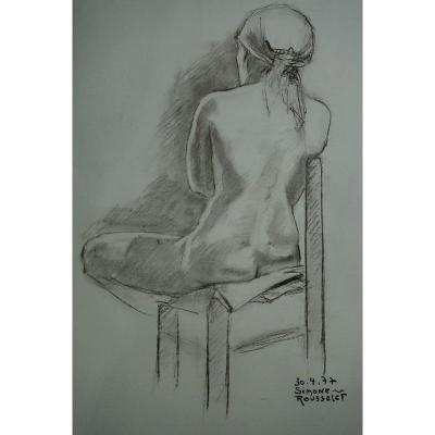 """""""Nue , Assise de Dos"""" par Simone ROUSSELET ...1977"""