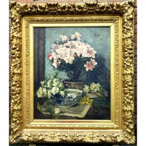 """""""Rhododendrons, Oeillets, Jonquilles"""" Marie PERREAU vers 1900"""