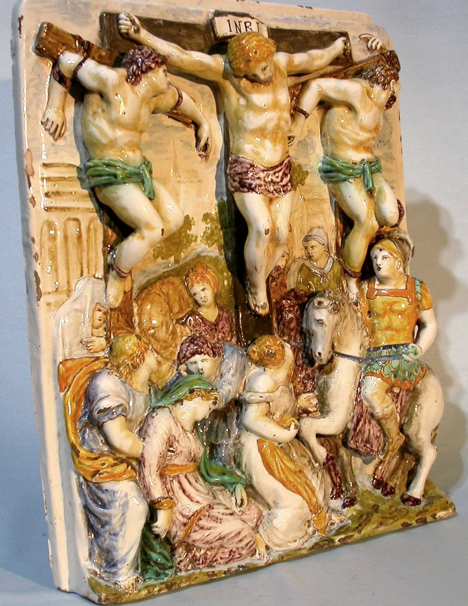 Grande Crucifixion In Earthenware - Choisy (?) Circa 1800