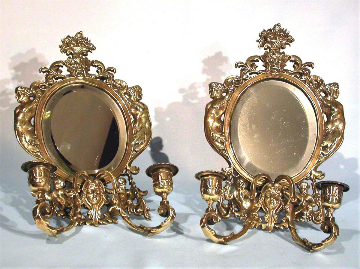 Pair Of Bronze Mirror Walls