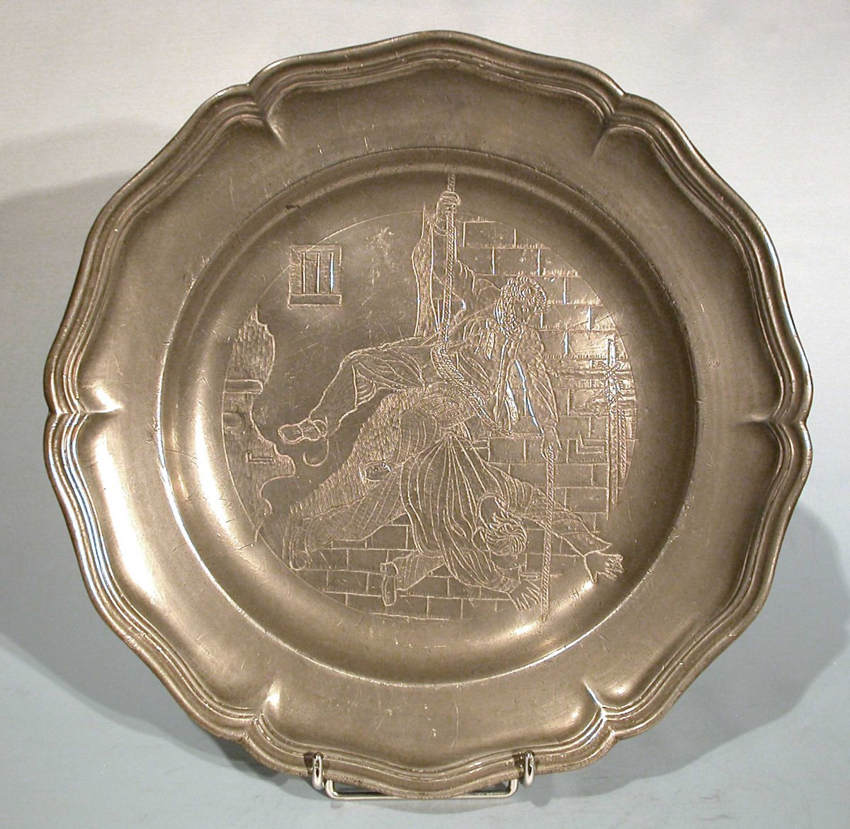 Pewter Dish (tin) Engraved - France, Circa 1800