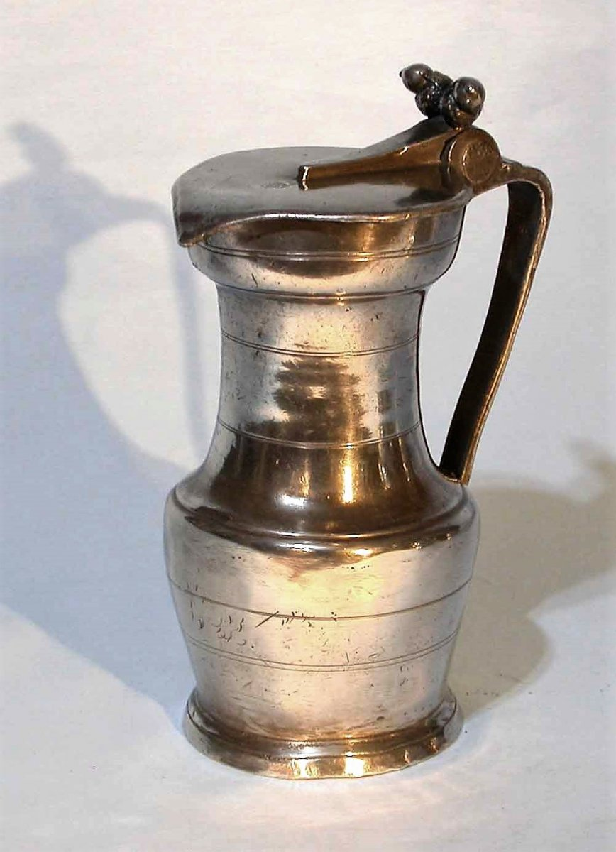 Pewter Wine Jug (tin) - Beaucaire, XVIII Th Century