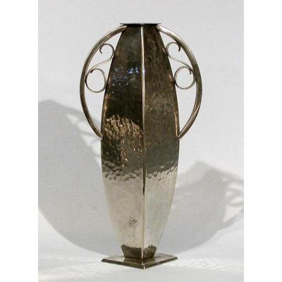 "Vase ""art Deco"" In Pewter (tin) By Francois Medoc"