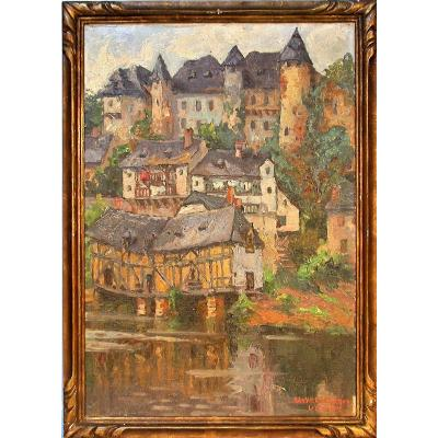 Oil On Canevas Of Lucie Ranvier-chartier - Houses In Uzerche
