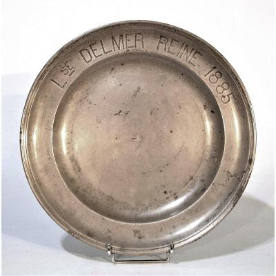 Dedicatory Pewter Plate (tin) - Lille, XIX Th Century